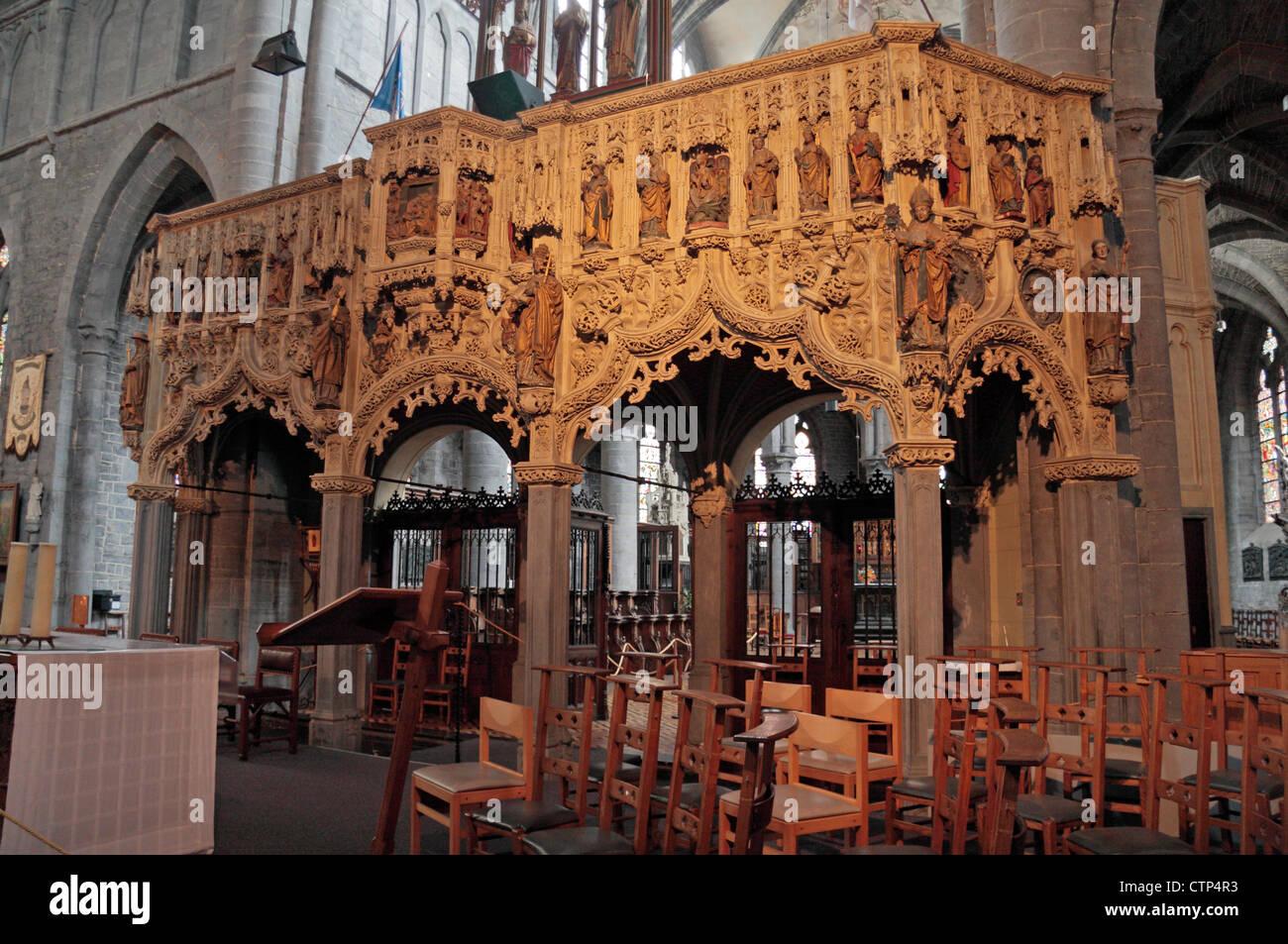 The Jubé Charles Quint screen inside the Basilique St-Materne, Walcourt, Belgium. Stock Photo