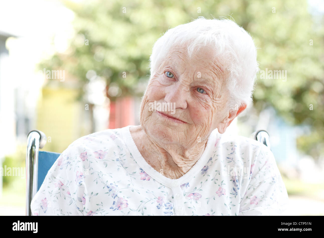 Senior Woman in a Wheelchair - Stock Image