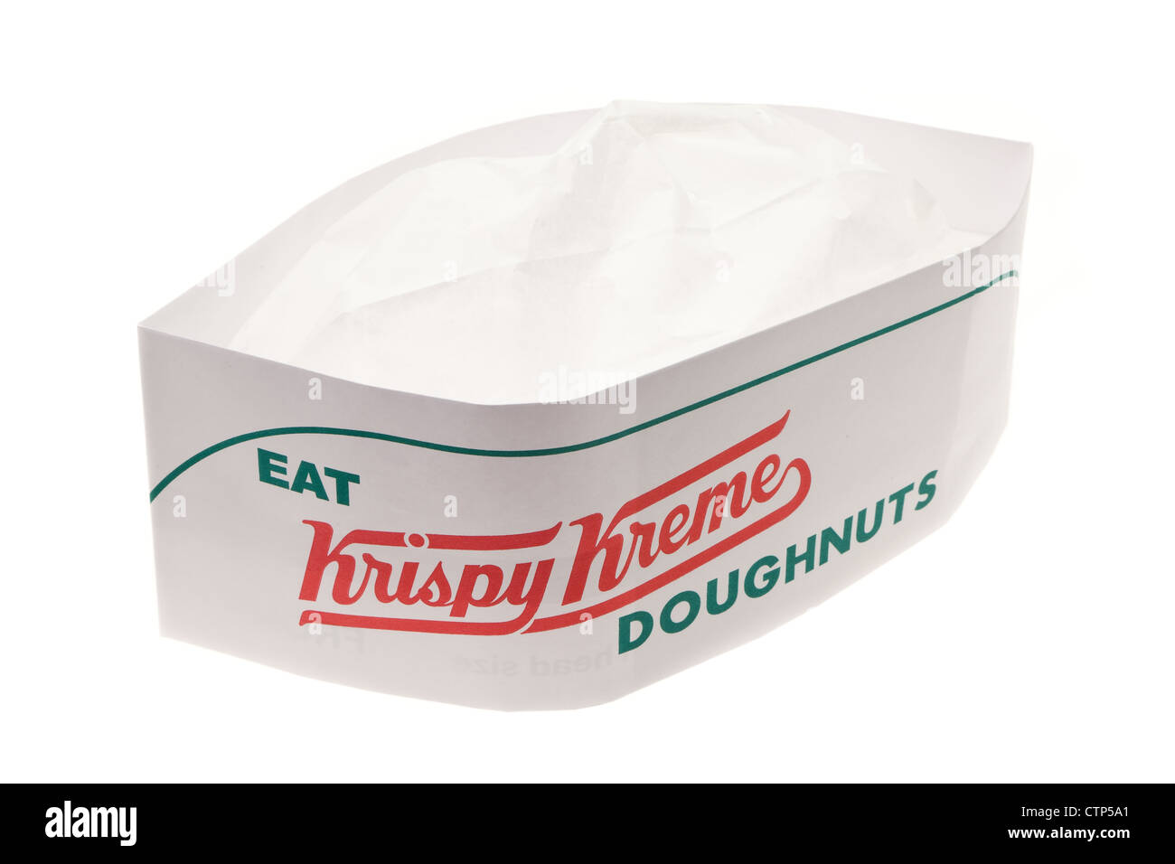 A new Krispy Kreme chefs hat - studio shot with a white background - Stock Image