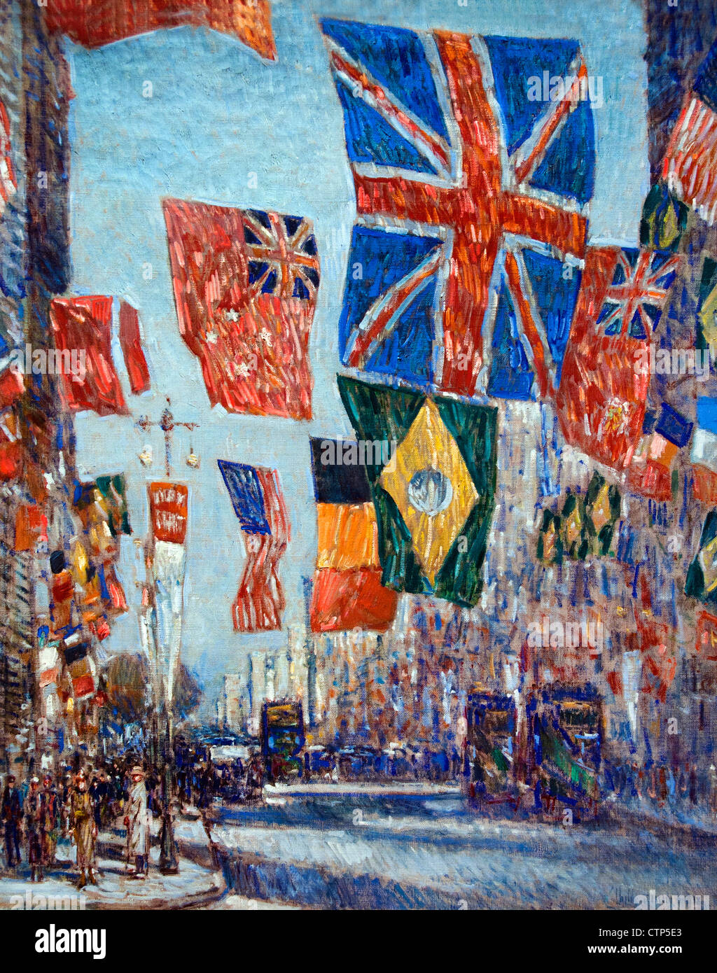 Avenue of the Allies Great Britain 1918  ( World War I Flags Fifth Avenue New York ) Childe Hassam United States - Stock Image