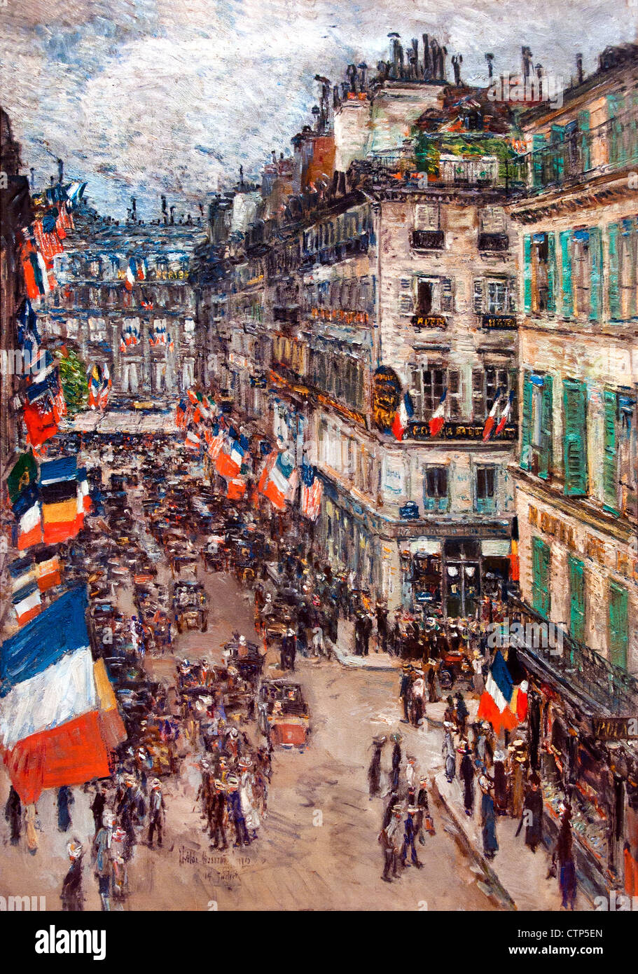 14 July Fourteenth 14 Rue Daunou ( Paris France ) 1910 Childe Hassam American United States of America - Stock Image
