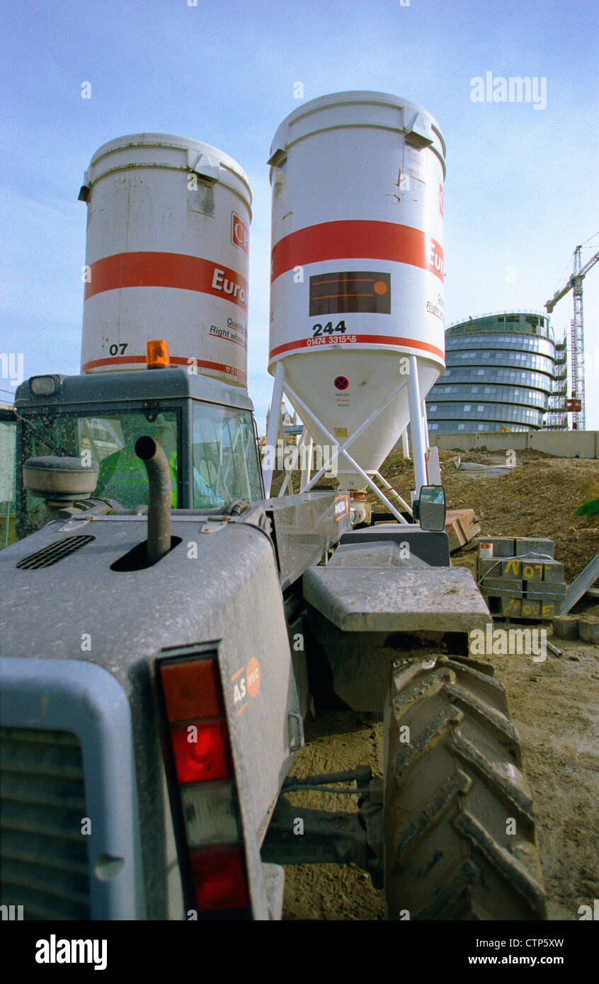 On Site Concrete Batching Plant Cement Silo On A Building Site In