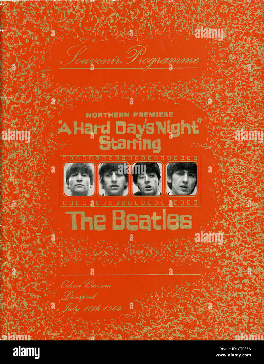 001085 - The Beatles 'A Hard Day's Night' Northern Premiere Souvenir Programme from the Liverpool Odeon - Stock Image