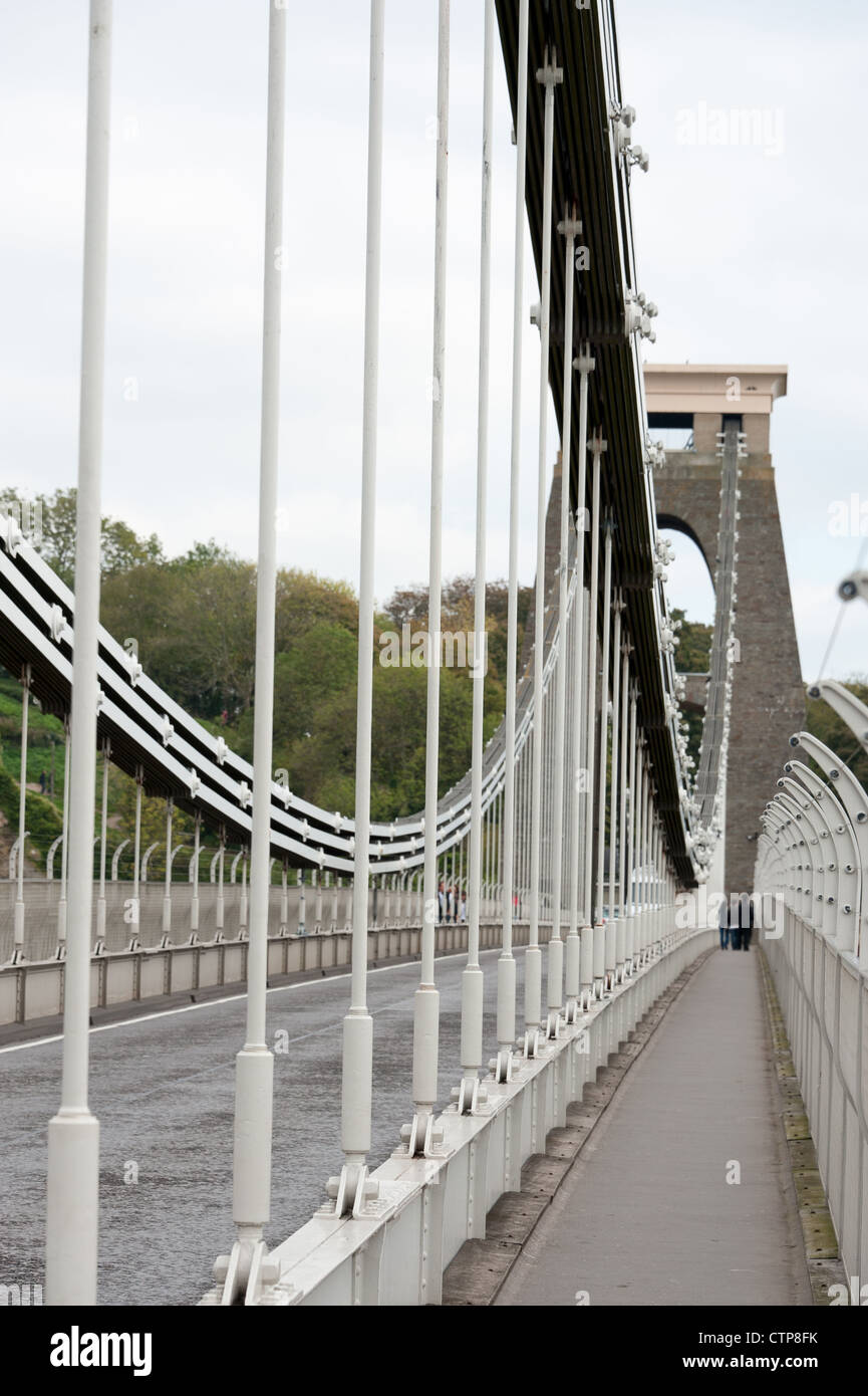 The Clifton Suspension bridge designed by Isambard KIngdom Brunel and opened in 1864. The footpath is a known suicide - Stock Image