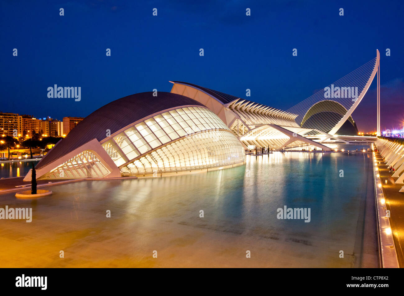 Night view of Ciudad de las Artes y las Ciencias (City of Arts and Sciences), Valencia, Spain - Stock Image