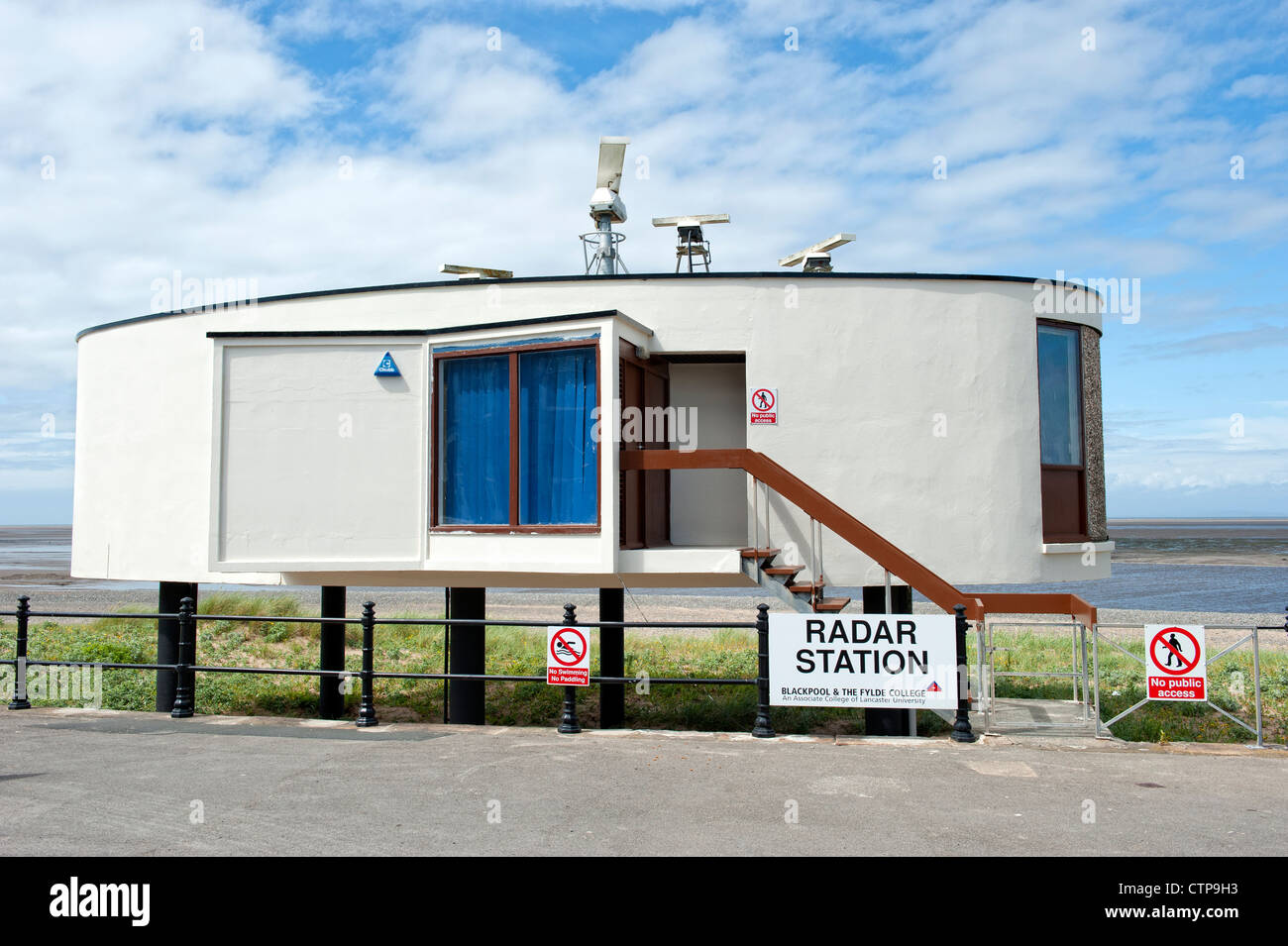 Radar Station on the seafront in Fleetwood, Lancashire - Stock Image