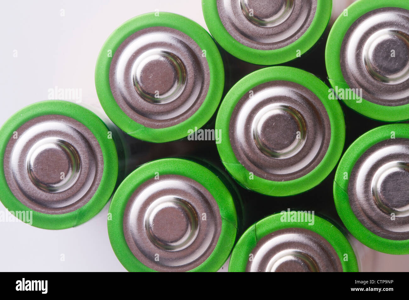 close up the top of AA battery,color on green - Stock Image