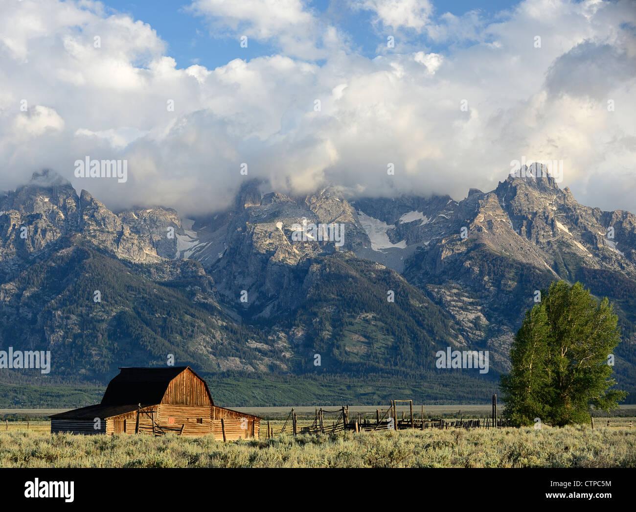 North Mormon Row Barns, Grand Teton National Park, Wyoming, USA - Stock Image