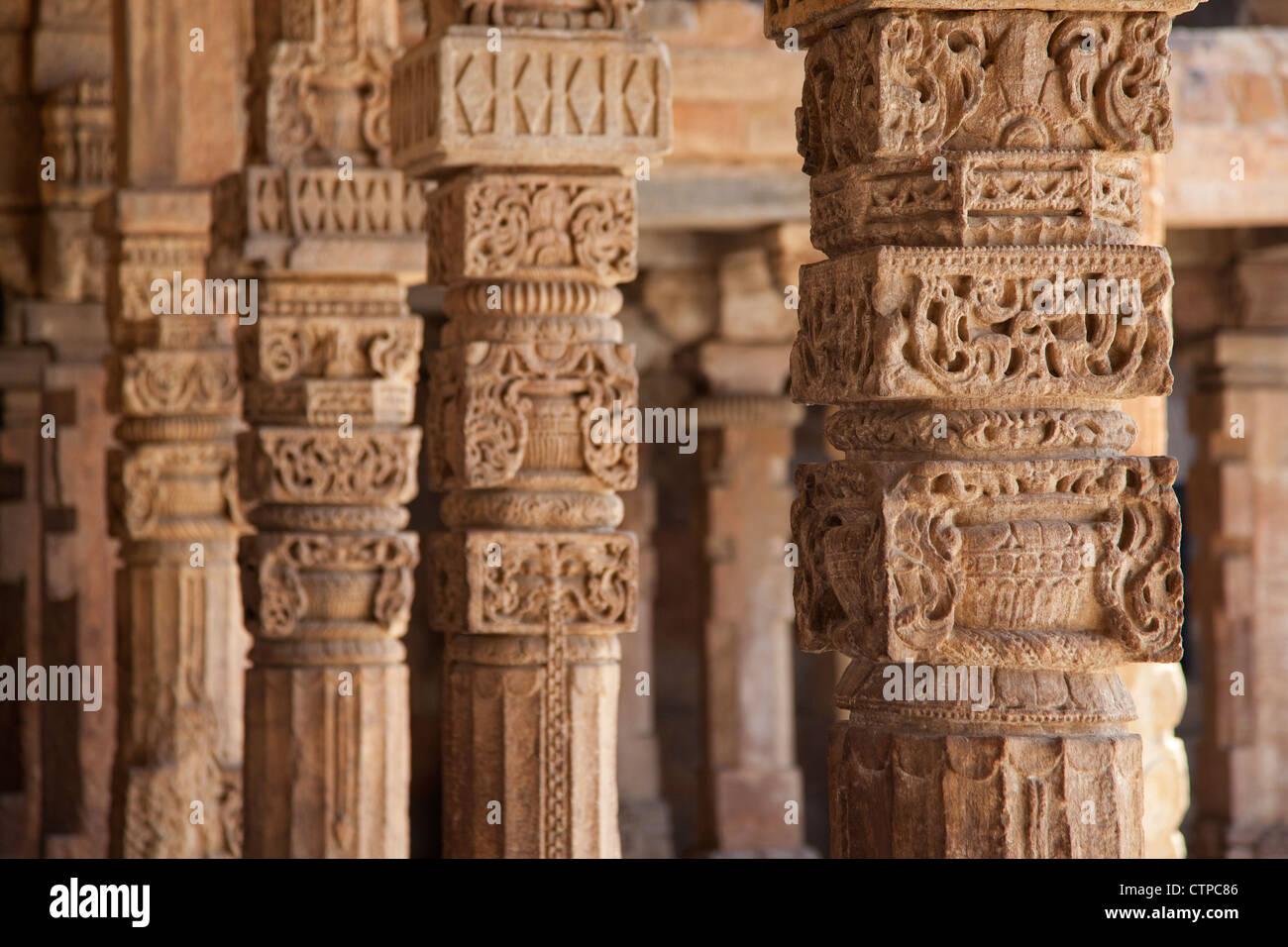 Detail of the Qutub Minar / Qutb Minar, UNESCO World Heritage Site and tallest minaret in Delhi, India - Stock Image