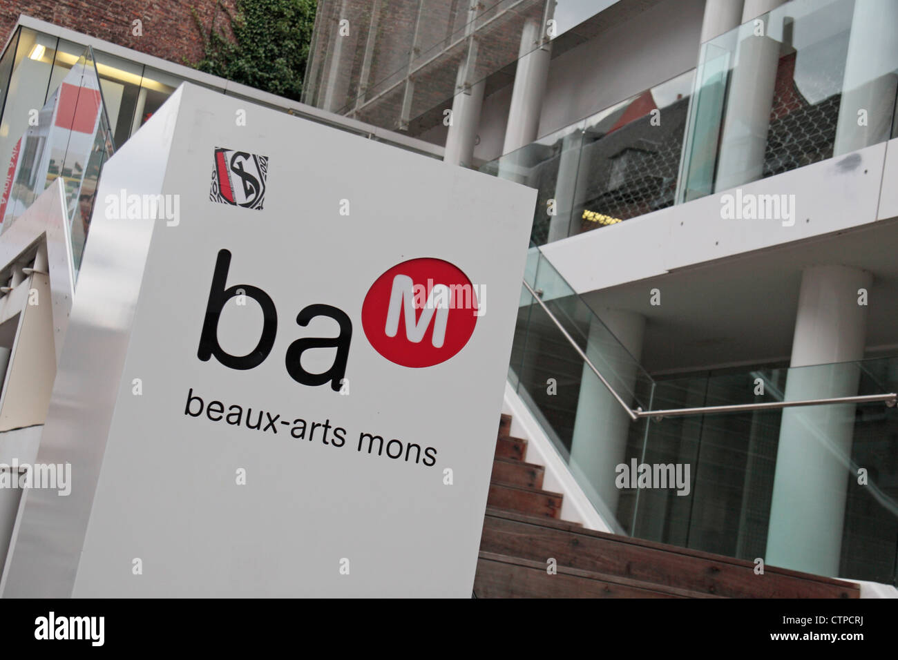 Entrance to Beaux-Arts Mons or BAM (Fine Arts Mons) in Mons, Wallonia, Southern Belgium. Stock Photo