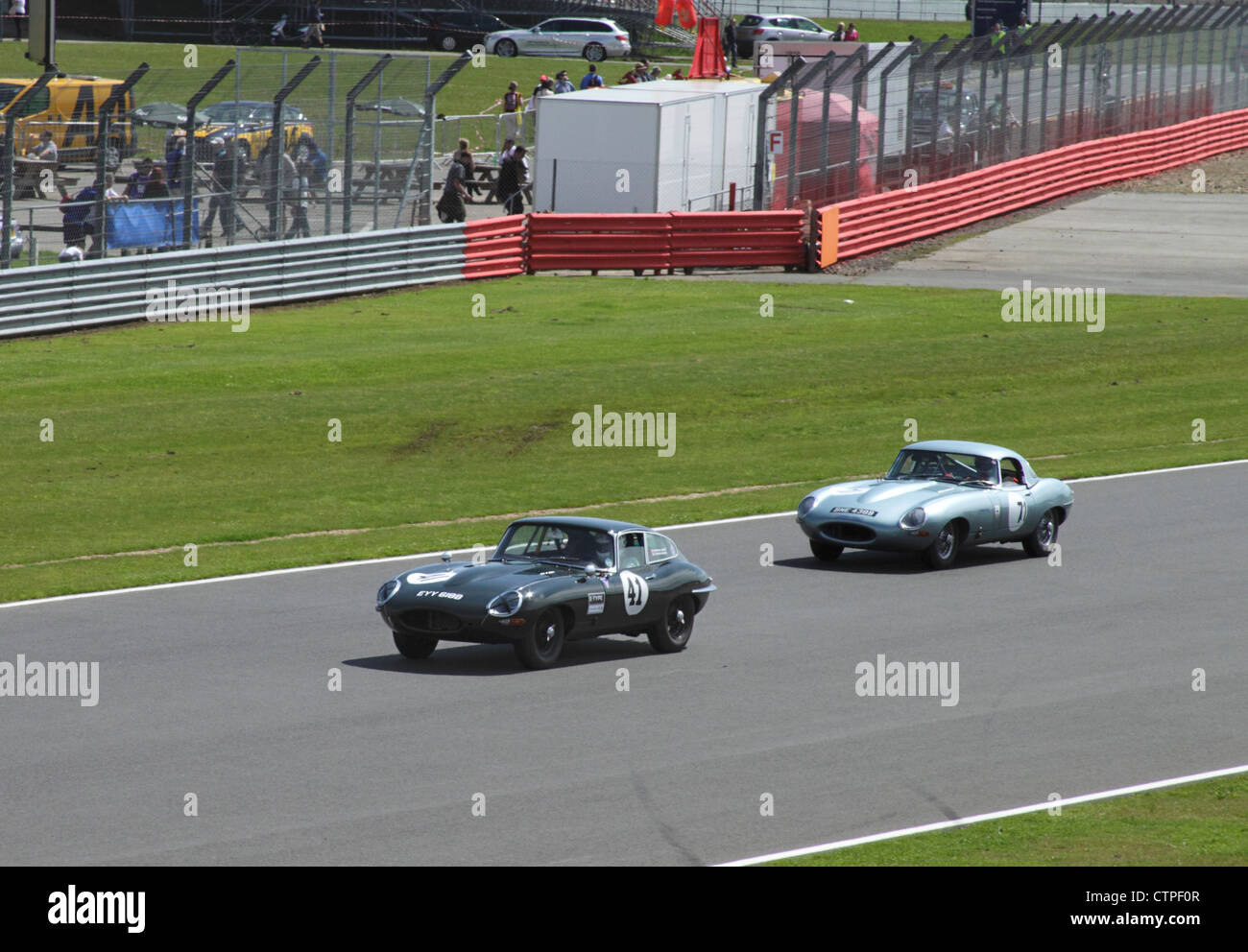 Jaguar E-Types at RAC Tourist Trophy for Historic Cars (pre-63 GT) Silverstone Classic July 22 2012 - Stock Image