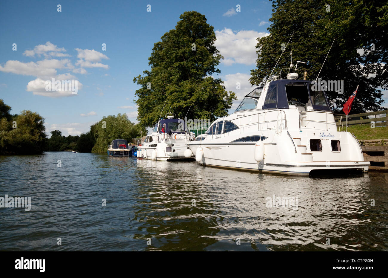 motor cruisers moored on the River Thames at Wallingford Oxfordshire UK - Stock Image