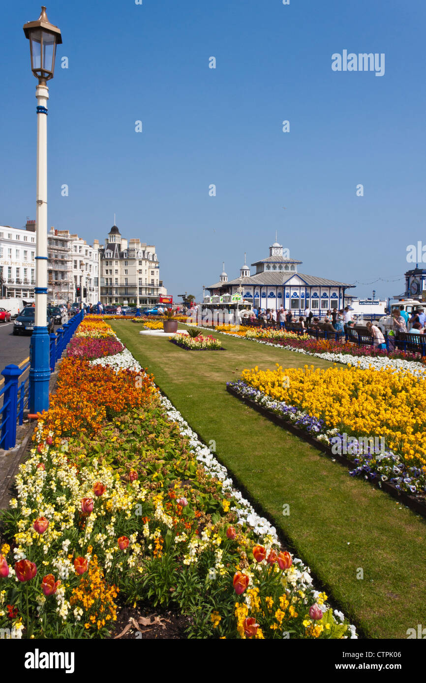 Floral display on the promenade at Eastbourne, an English seaside holiday destination. England, GB, UK. - Stock Image