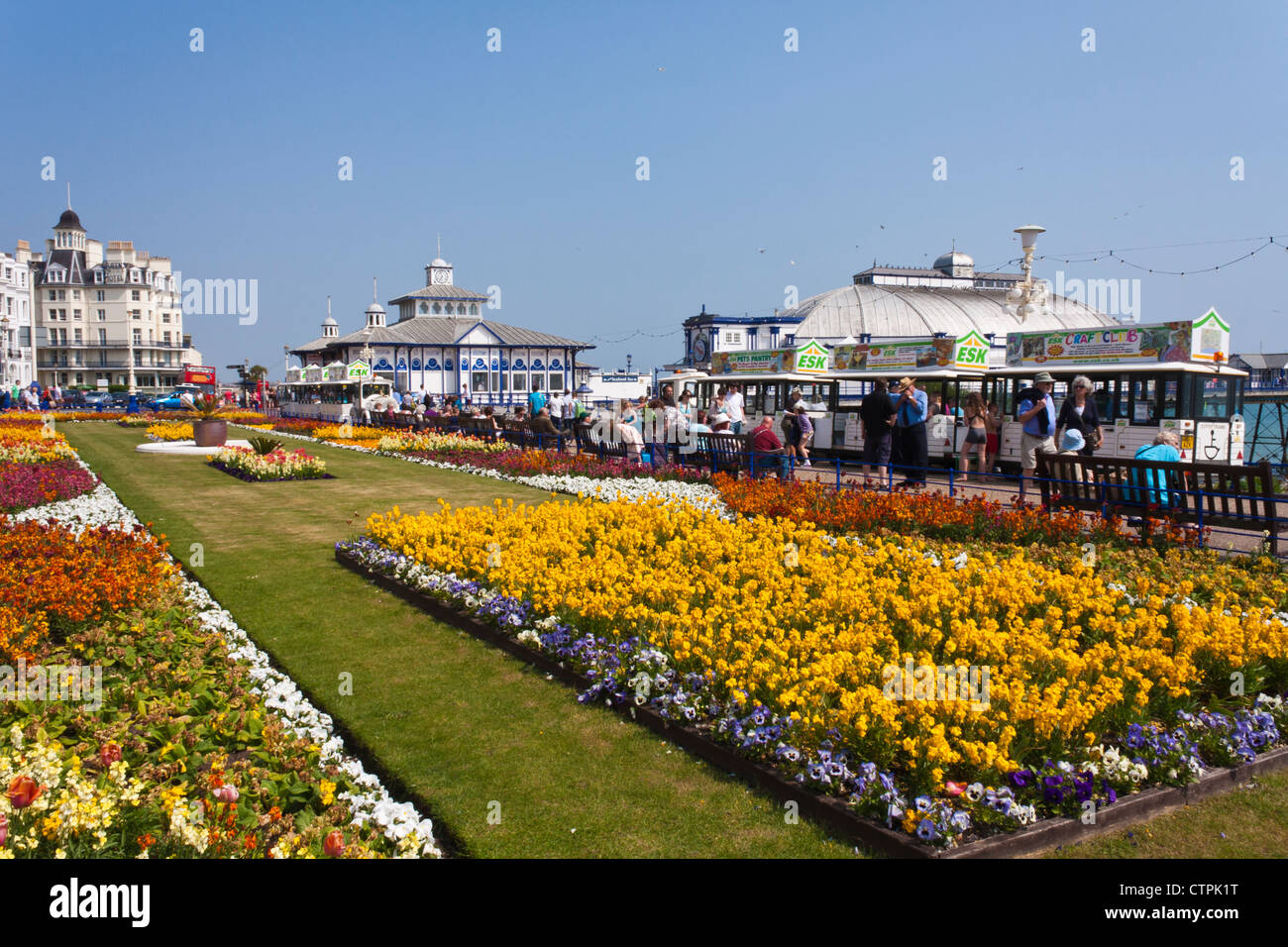 Floral display on the promenade at Eastbourne, an English seaside holiday destination, Sussex, England, GB, UK. - Stock Image