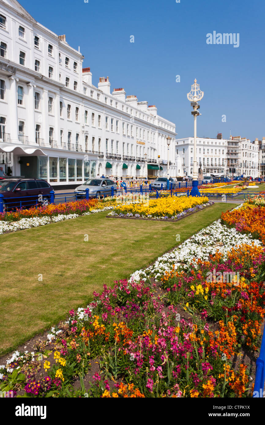 Floral display on the promenade at Eastbourne, Sussex, an English seaside holiday destination. England, GB, UK. - Stock Image