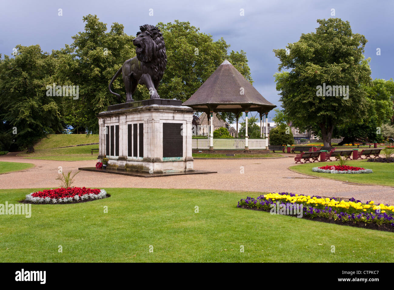 Forbury Gardens, an English public park famous for it's war memorial sculpture of a lion. Stock Photo