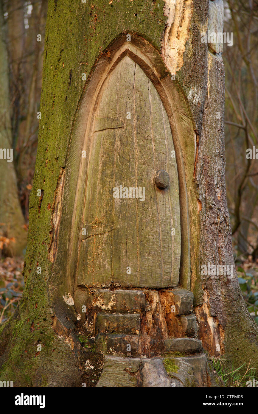 Wood carving of small door in base of tree Derbyshire . Could this be the home of a hobbit? : tree door - pezcame.com