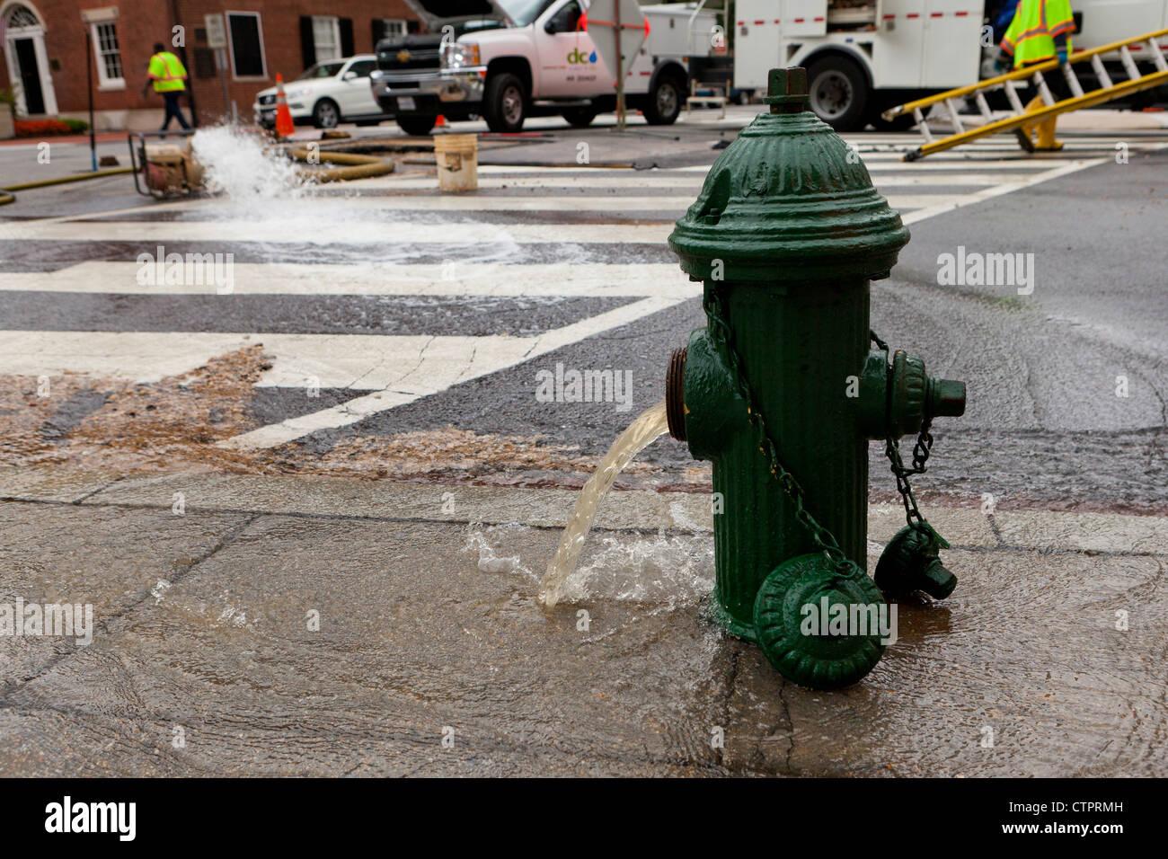 Open fire hydrant - Washington, DC USA - Stock Image