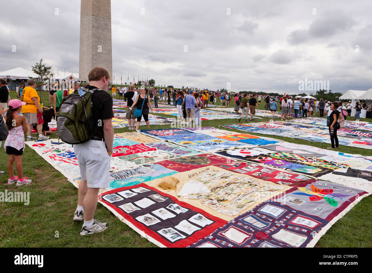 AIDS Memorial Quilt panels are put on display on the Mall to mark its 25th anniversary - July 22, 2012, Washington, - Stock Image