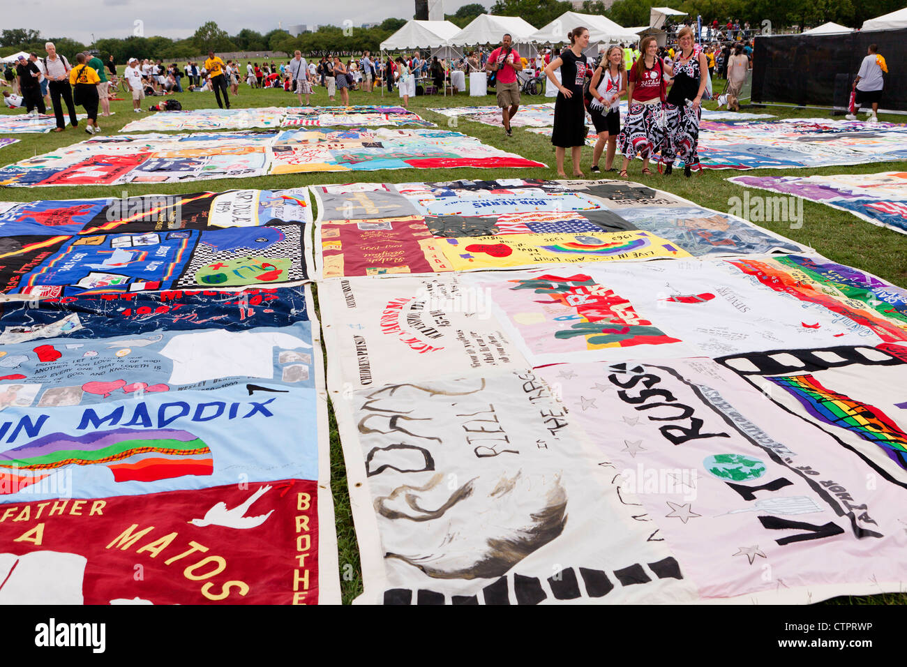 AIDS Memorial Quilt panels are put on display on the Mall to mark its 25th anniversary, ahead of the International - Stock Image