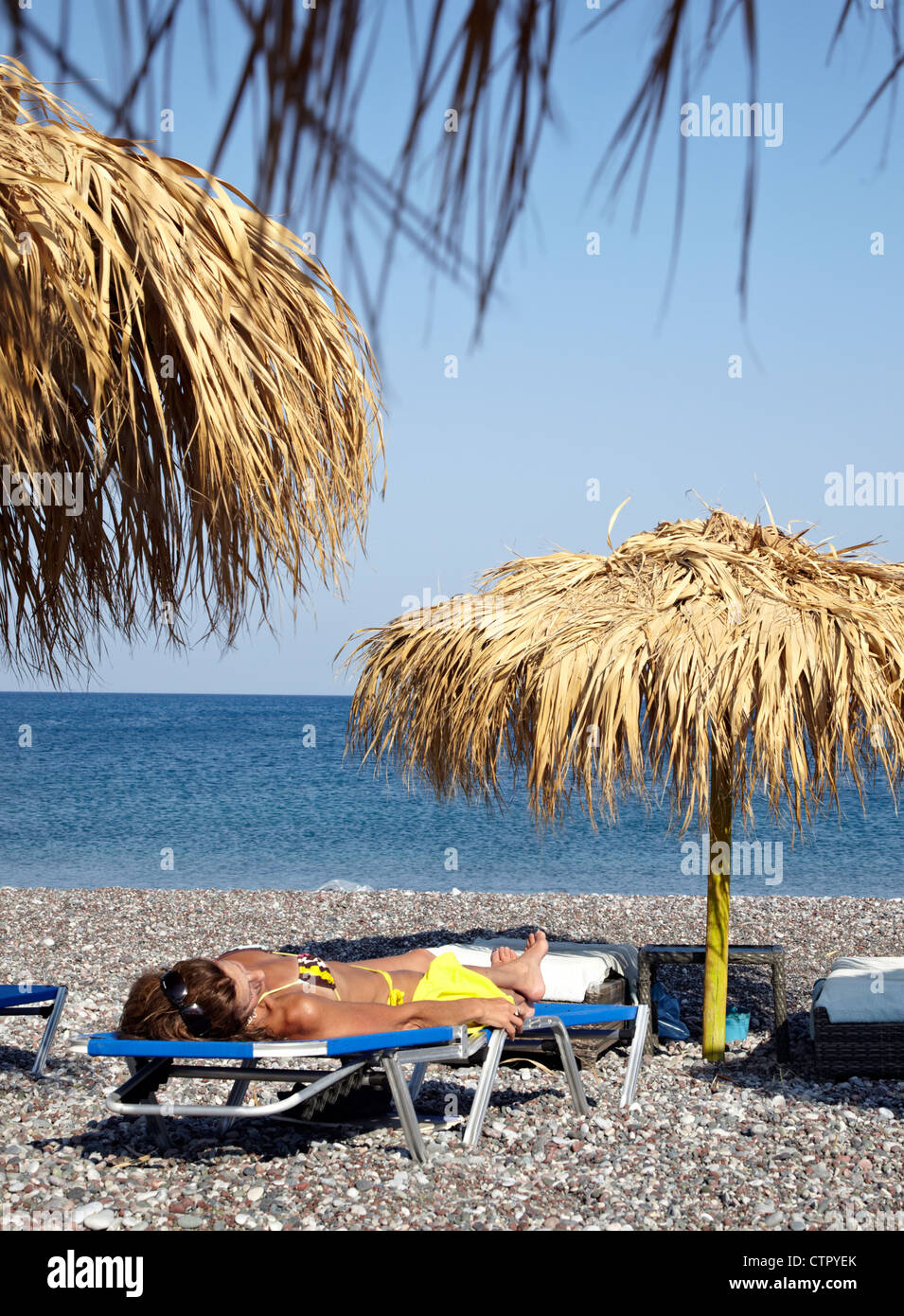 Sun Shade Mojito Beach Rhodes Greek Islands Greece Stock Photo