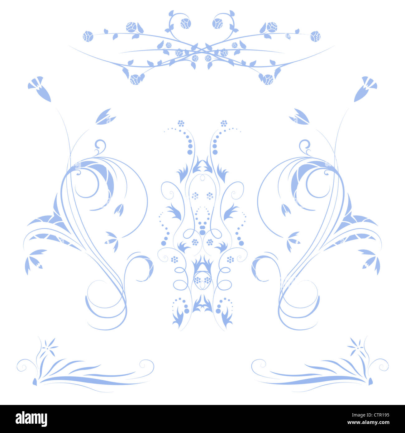 Beautiful illustrated flower background design with gradient Stock Photo