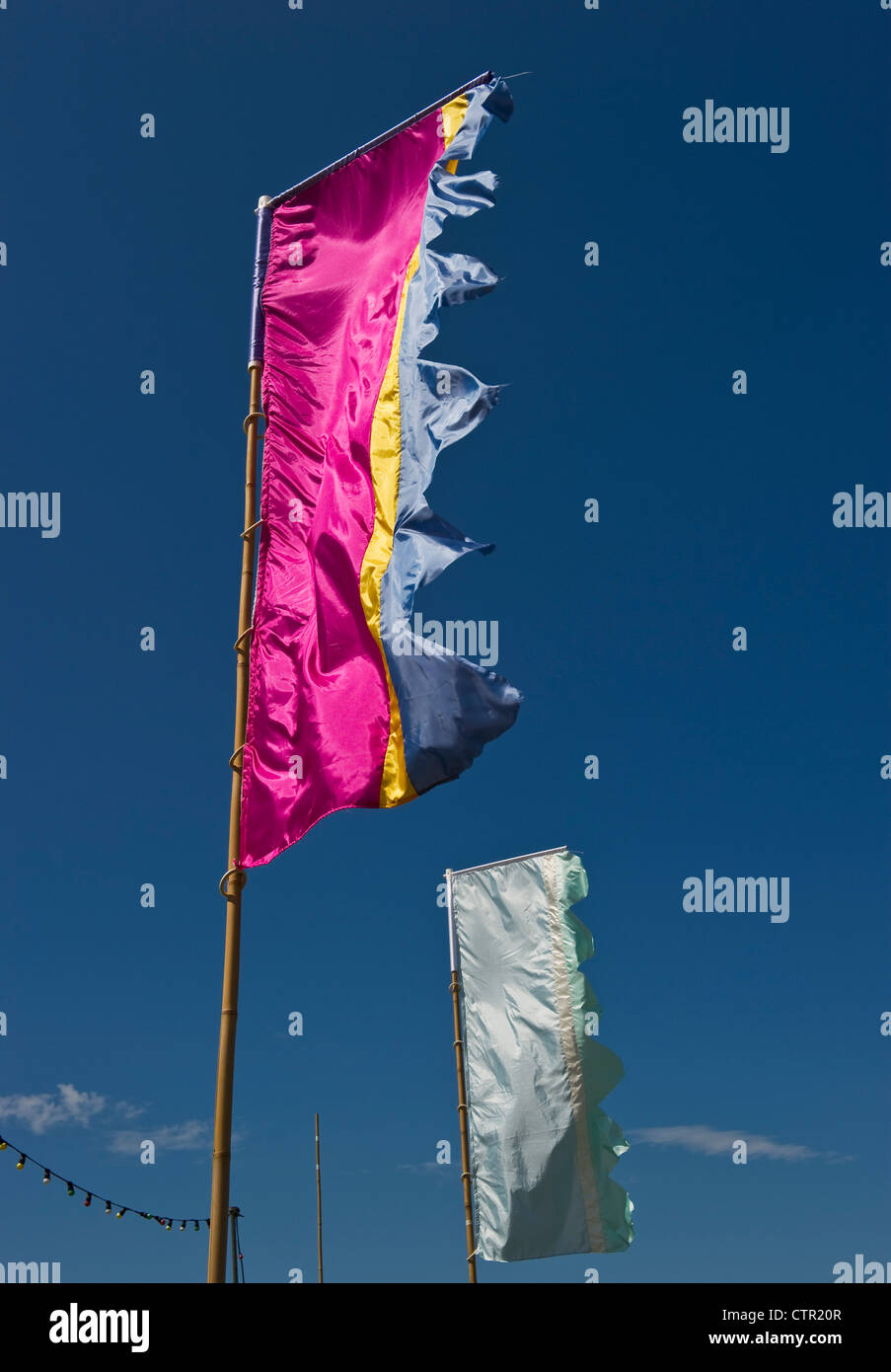 Banners fly at the Sheep Music 2012 festival in Presteigne, Powys, UK - Stock Image