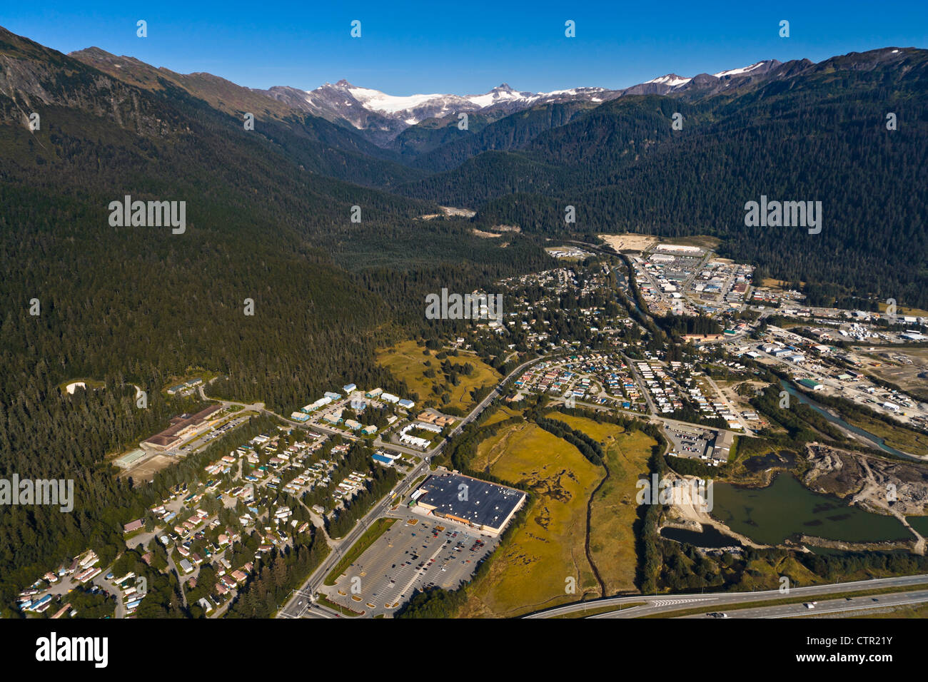 Aerial view of Juneau and Tongass National Forest, Southeast Alaska, Summer - Stock Image