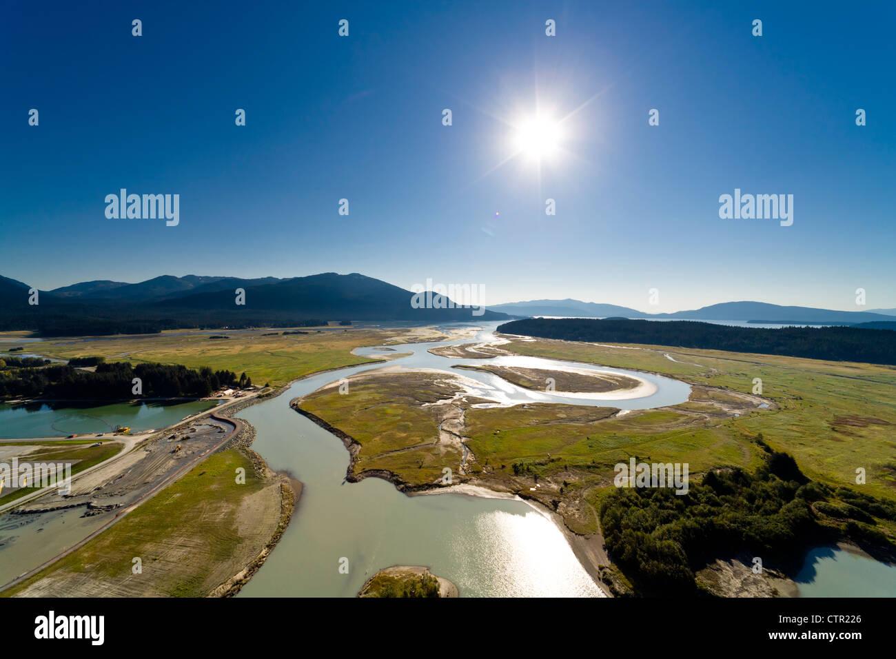 Aerial view of the Mendenhall Wetlands State Game Refuge towards Auke Bay, Juneau, Southeast Alaska, Summer - Stock Image