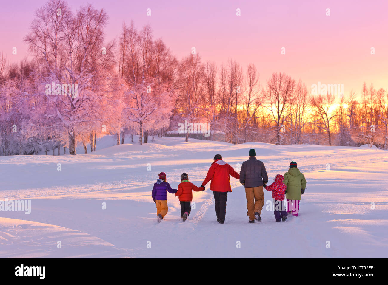 Family group holding hands walk into sunset glow next birch forest Russian Jack Springs Park Anchorage Southcentral - Stock Image