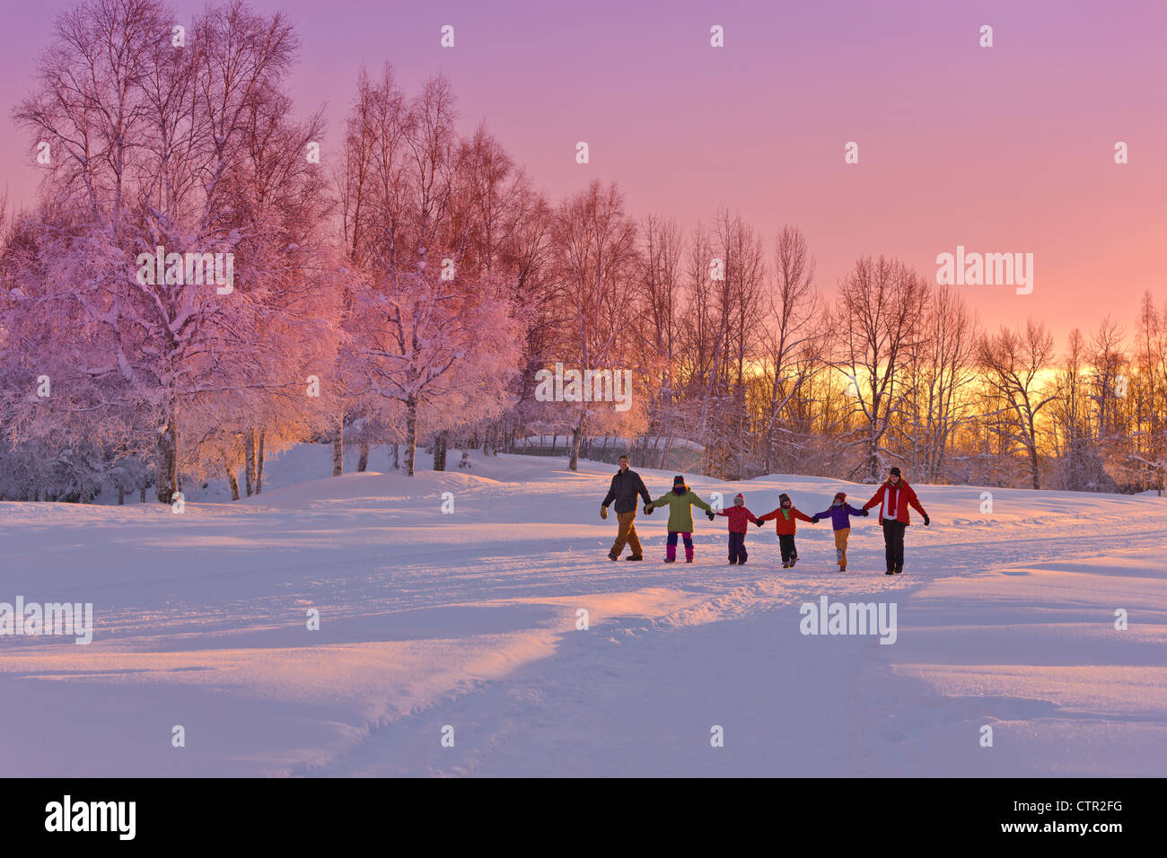 Family group holding hands walk on snow path sunset birch forest in background Russian Jack Springs Park Anchorage - Stock Image