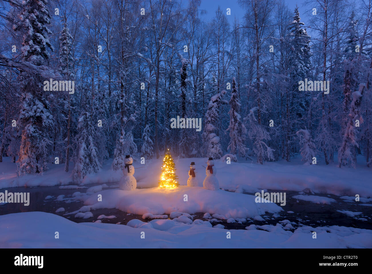 Snowman family  standing next Christmas tree on snow covered island in middle small stream in hoarfrost covered - Stock Image