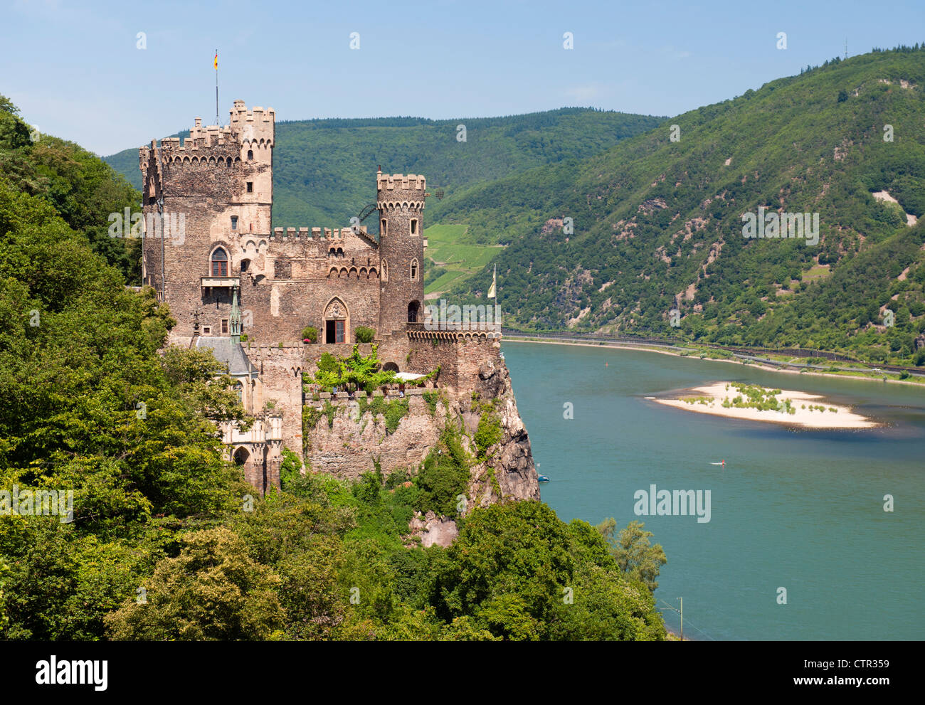 Burg Rheinstein castle above river Rhine in Germany - Stock Image