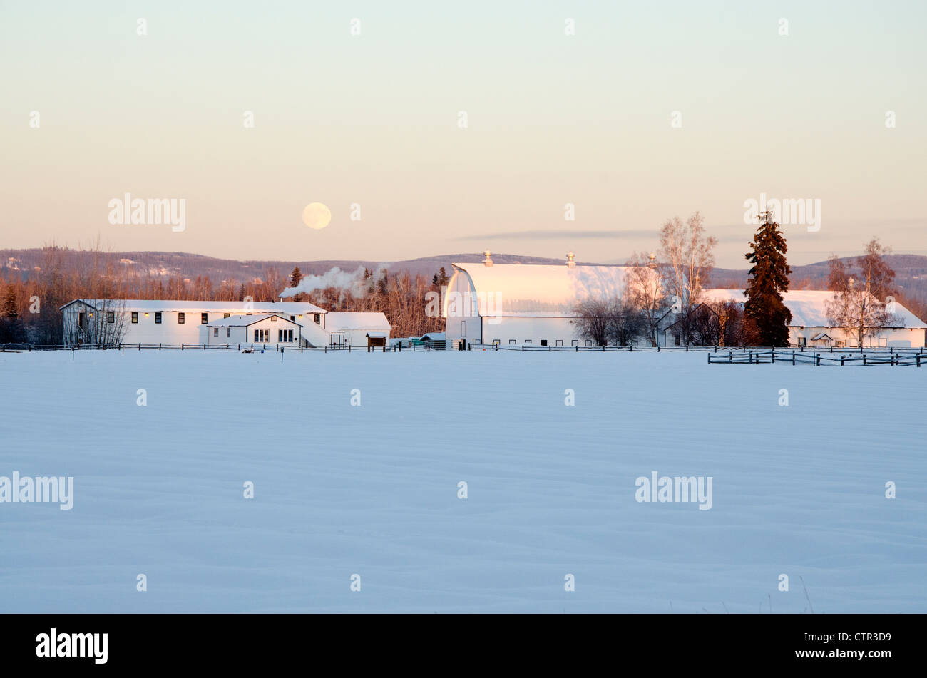 Full moon rises over snowcovered historic buildings former dairy farm Creamer's Field Migratory Waterfowl Refuge Fairbanks Stock Photo