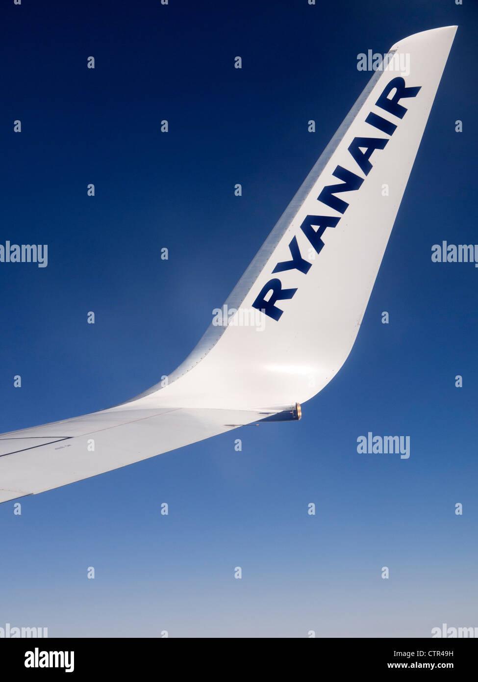 Ryanair airplane wing - Stock Image