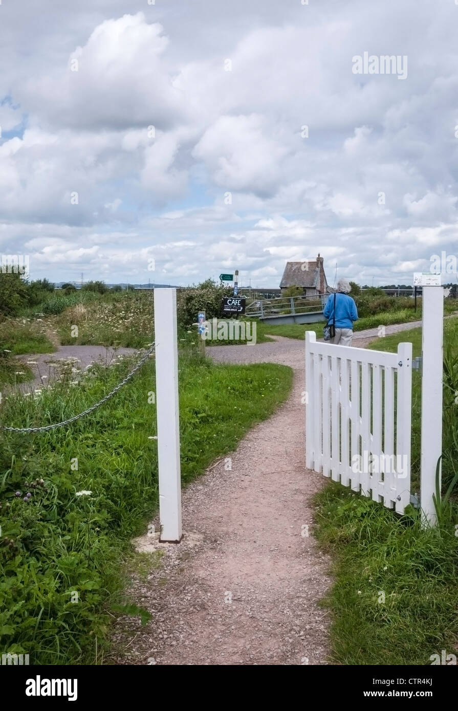 Open Gate on the Exe Estuary Trail, alongside the Exeter Ship Canal and Exminster Marshes , South Devon, England, - Stock Image