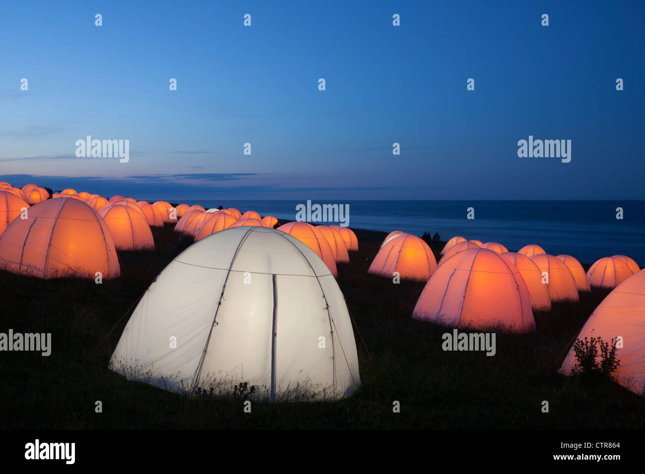 Peace Camp at Dunstanburgh Castle, Northumberland Stock Photo