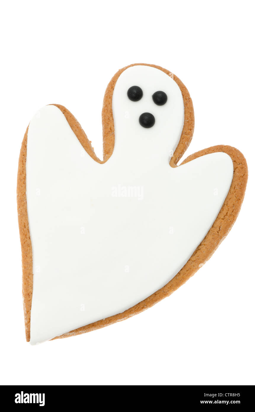 Gingerbread ghost for halloween - studio shot with a white background - Stock Image