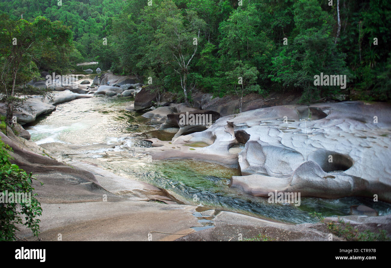"""Granite rocks of """"The Boulders"""" natural site of Babinda Creek in the wet tropics of North Queensland near the village Stock Photo"""