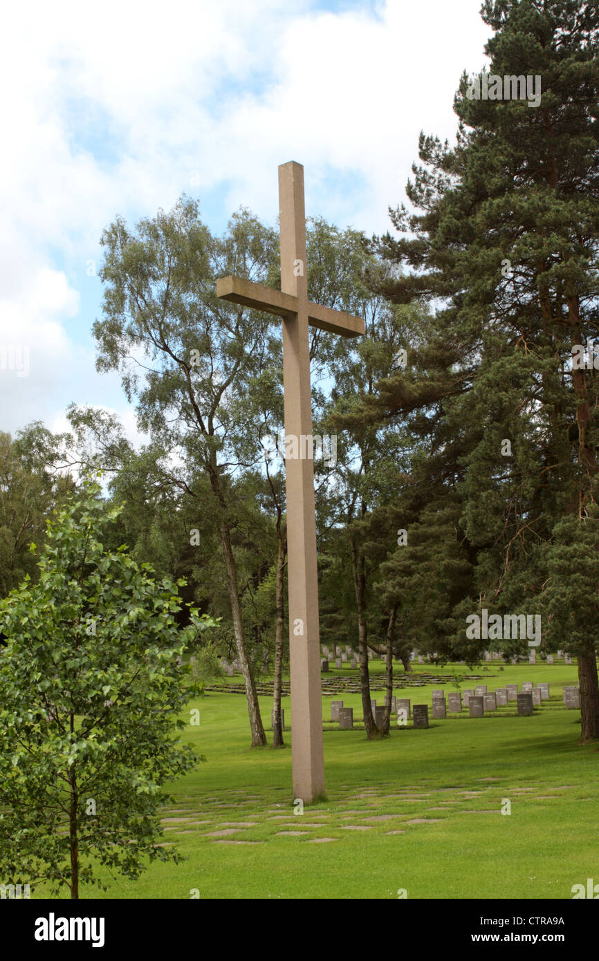 Cross in the middle of the German Cemetery Cannock Staffordshire UK - Stock Image
