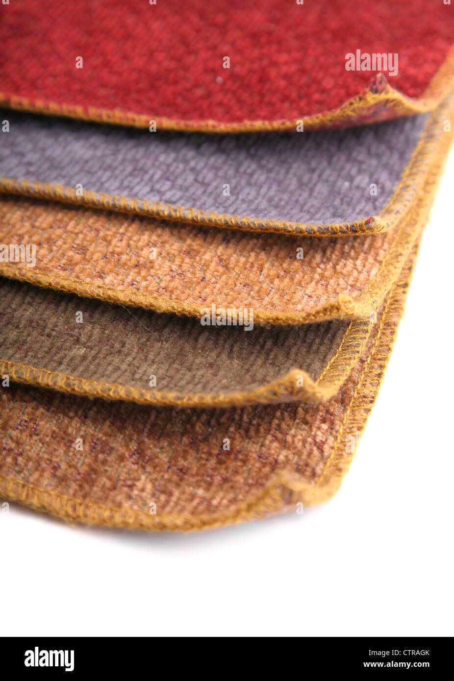 A book of upholstery fabric samples. - Stock Image