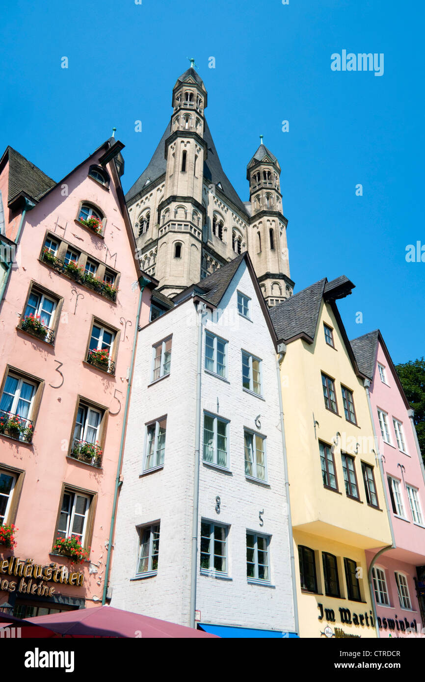 Historic colourful old buildings at Fischmarkt in the Old Town or Altstadt in Cologne Germany - Stock Image
