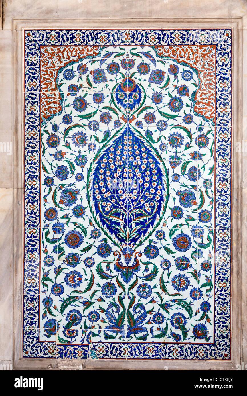 Iznik tile panel on Mausoleum of Ottoman Sultan Selim II, Istanbul ...