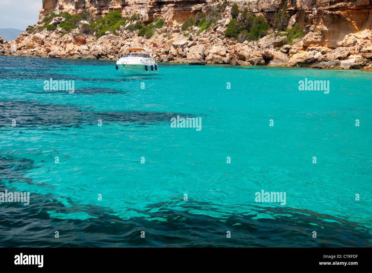 A Bay at Tagomago Island, Ibiza - Stock Image