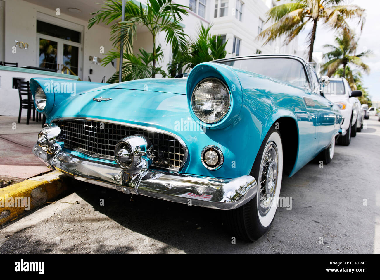 Ford Thunderbird, built in 1957, fifties, American classic cars, OCEAN DRIVE, Miami South Beach Art Deco district, - Stock Image