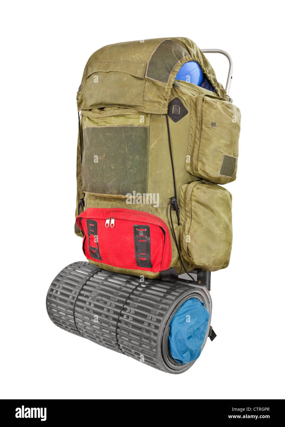 Vintage grungy backpack isolated with clipping path. - Stock Image