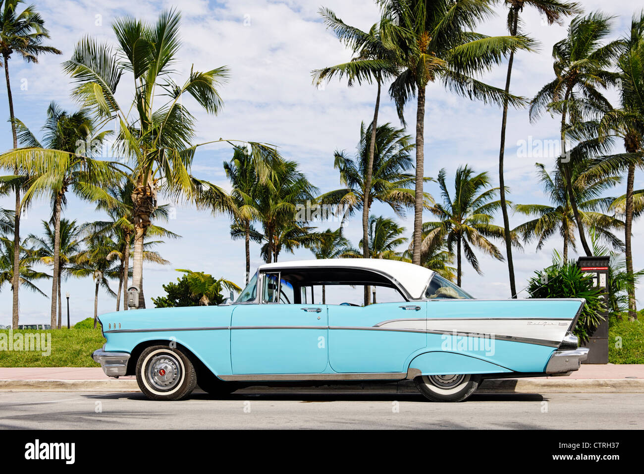 Chevrolet BEL AIR, built in 1957, fifties, American classic cars, OCEAN DRIVE, Miami South Beach Art Deco district, - Stock Image