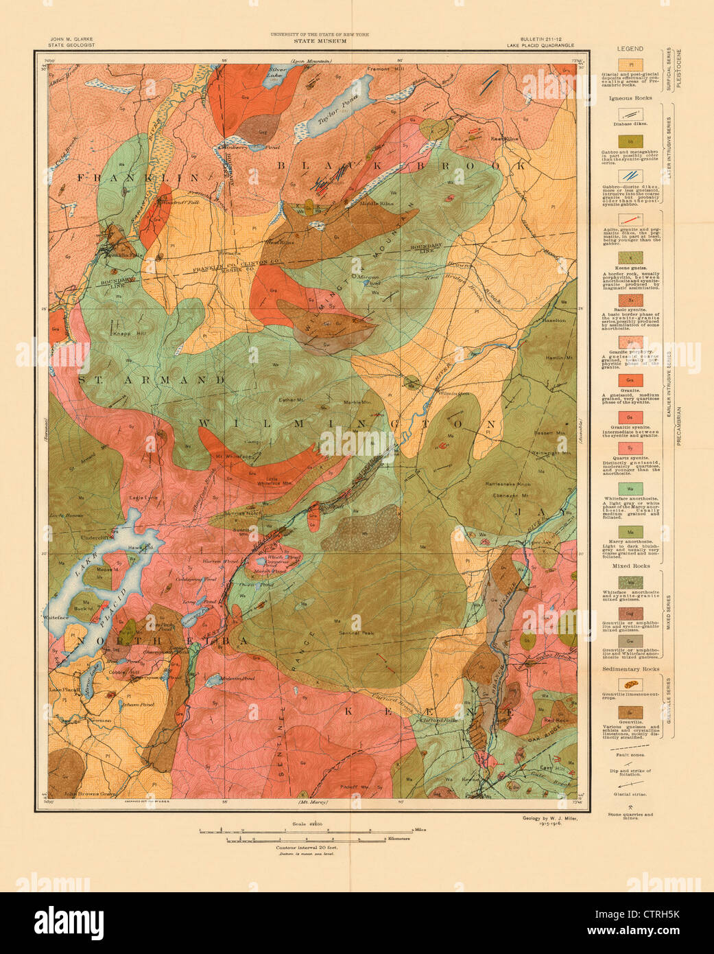 Geologic Map of the Lake Placid New York USGS Quadrangle - 1914 ...