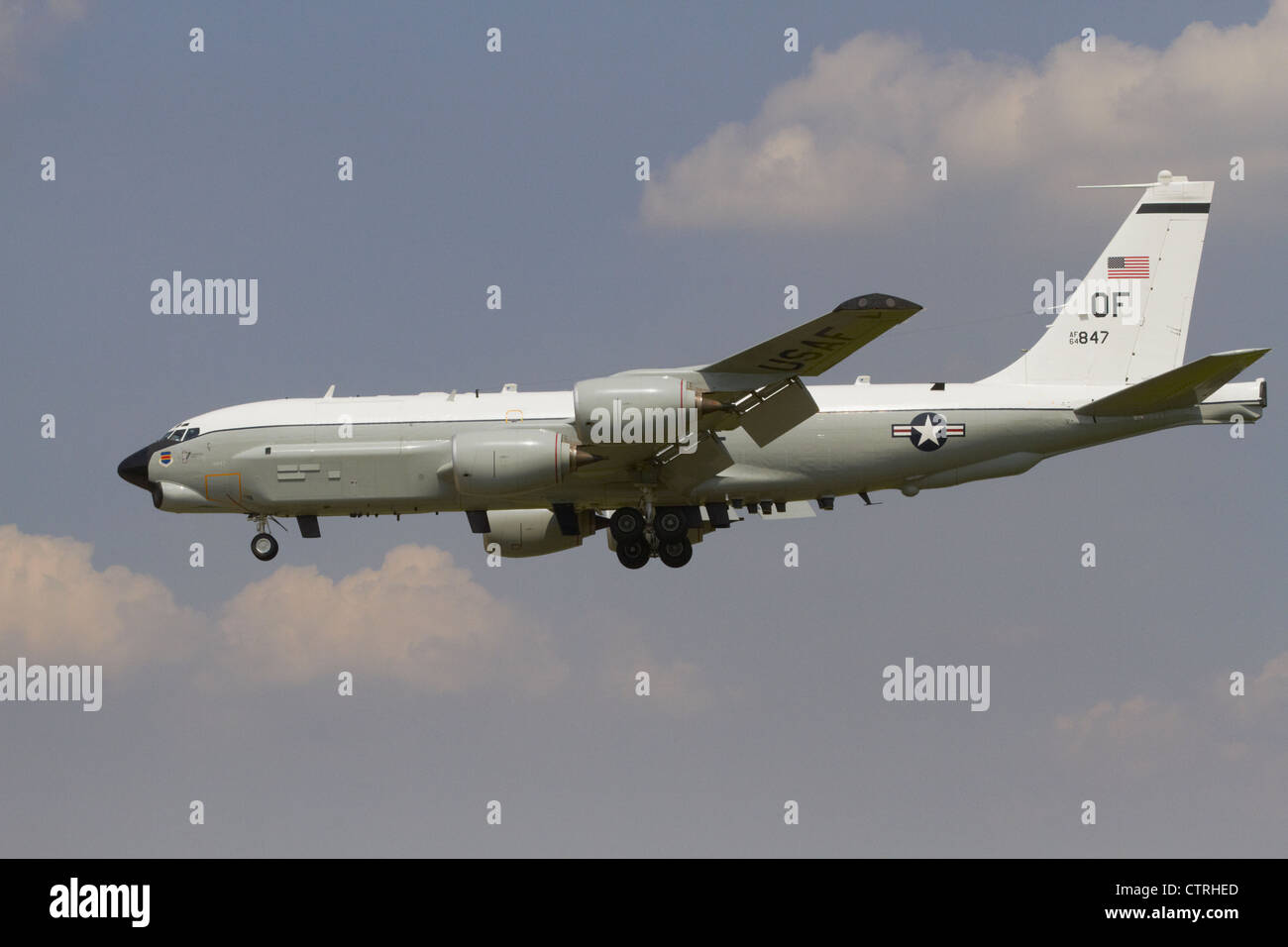 USAF boeing RC-135U combat sent on final approach - Stock Image