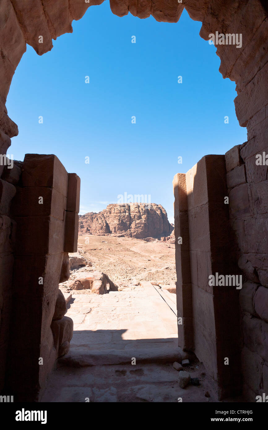 view from Urn Tomb to mountain dessert in Petra, Jordan Stock Photo
